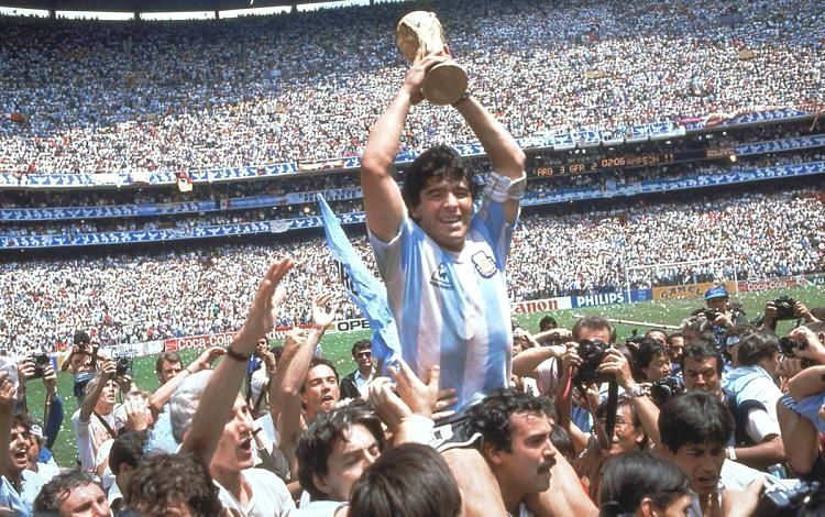 Maradona Holding the World Cup for Argentina