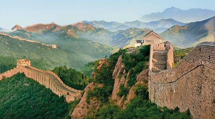 Aerial View of a Long Section of the Great Wall of China
