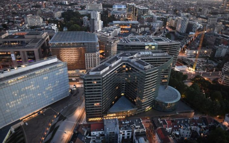 Aerial View of the Buildings Surrounding the European Union Headquarters