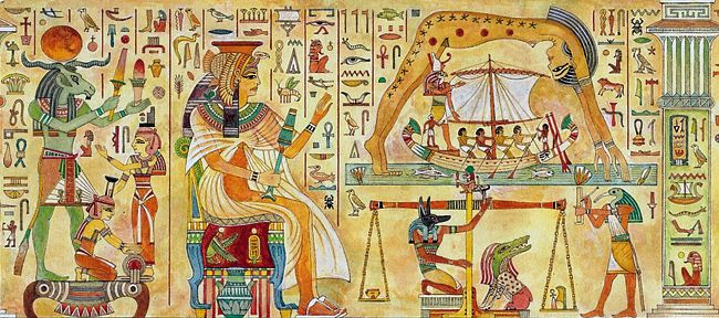 Hyroglephics in Ancient Egypt Showing the Main Gods and Goddesses