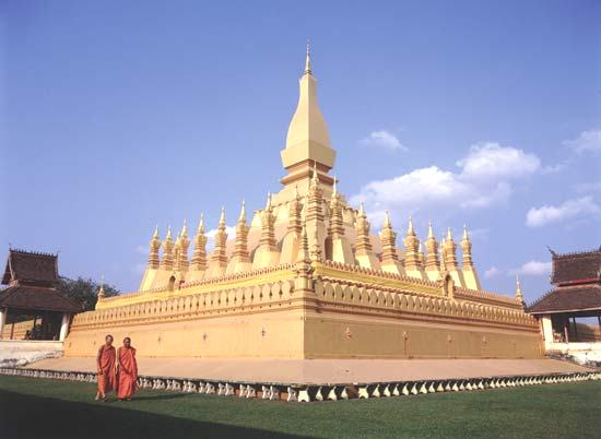 Pha That Luang Temple in Laos - It Symbolises the Buddhist Religion as well as the Laos Sovereignty