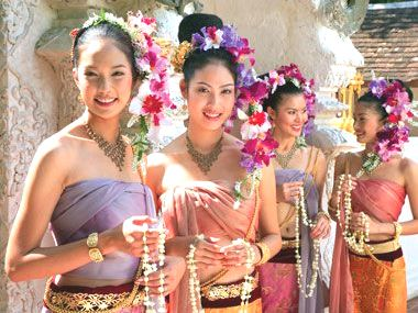 Thai Girls Offering Floral Blessings