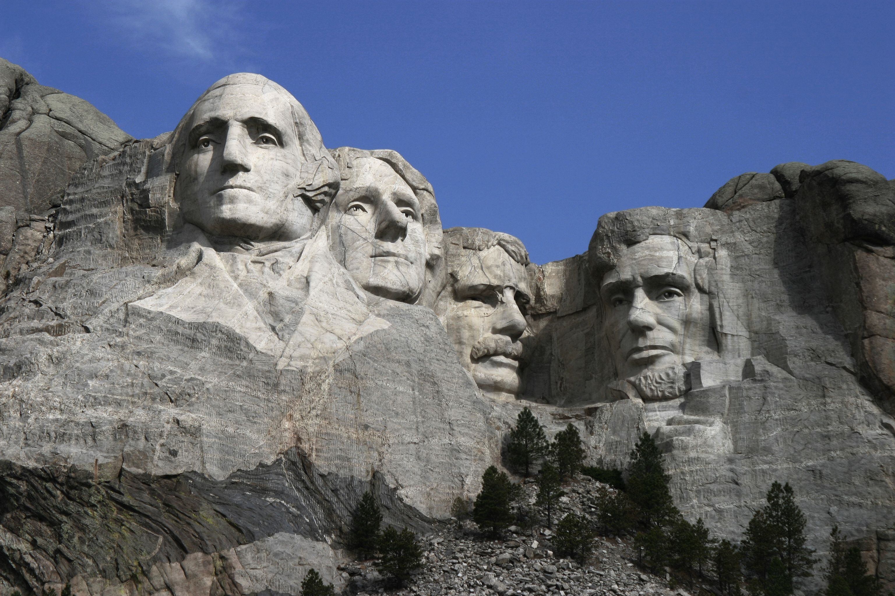 The Stone Heads Built into the Rock at Mount Rushmore USA
