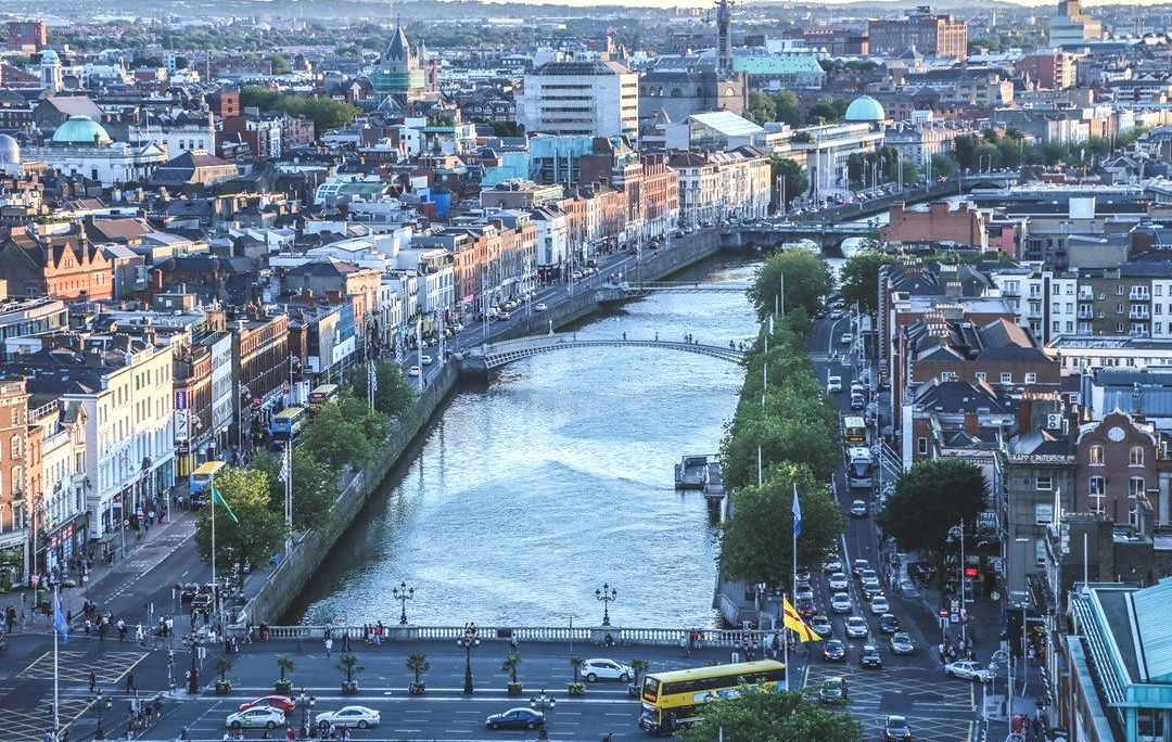 City Built around a Large River in Eire
