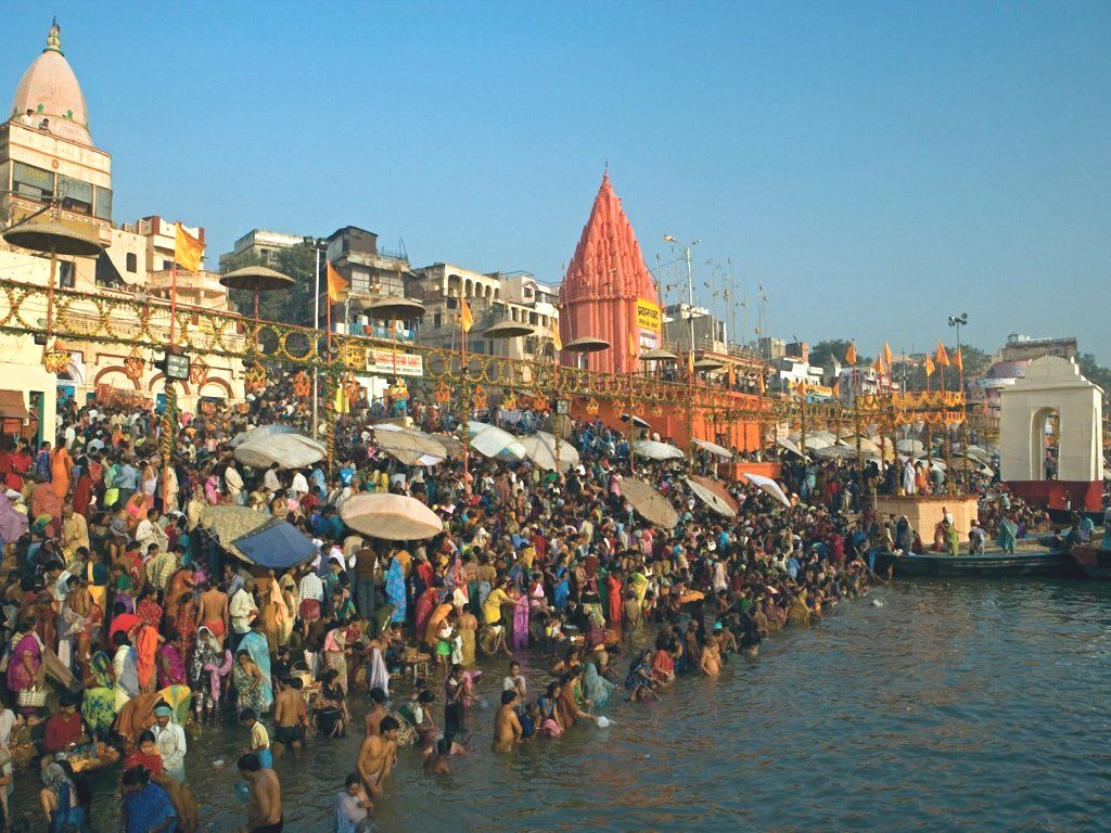 Bathing in the Ganges in India