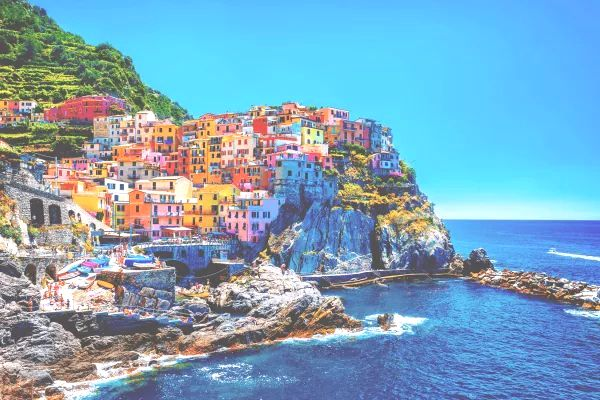 Italian Village on a Cliff by the Sea