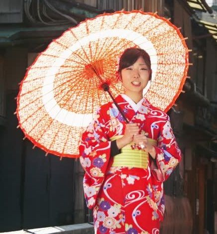 Japanese Girl with a Japanese Umbrella