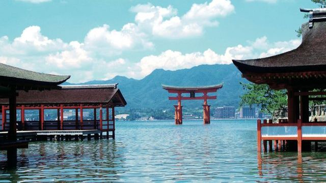 Japanese Holy Buildings in the Water of a Lake