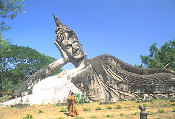 Leaning Buddha Statue in Laos