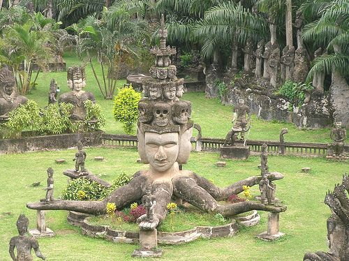Four-Headed Goddess in Laos with Many Attending Gods