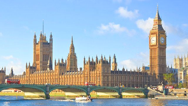 Houses of Parliament & Big Ben in London UK