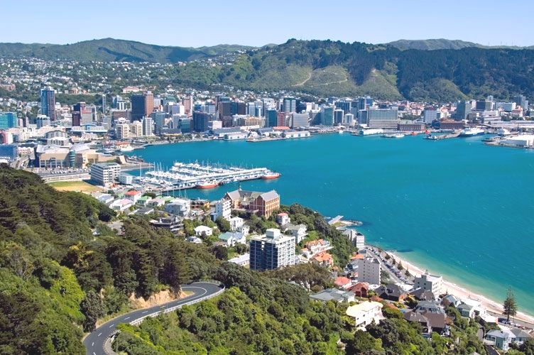 Coastal City close to the Sea in New Zealand