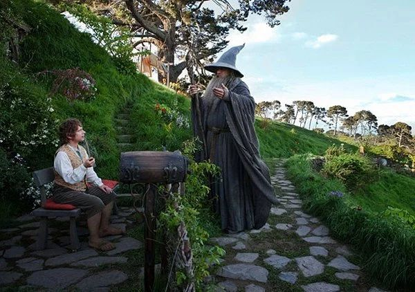 Gandalf and Frodo in the Lord of the Rings in New Zealand