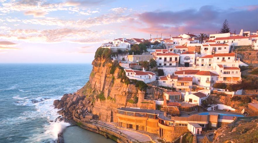 Portuguese City on a Cliff by the Ocean