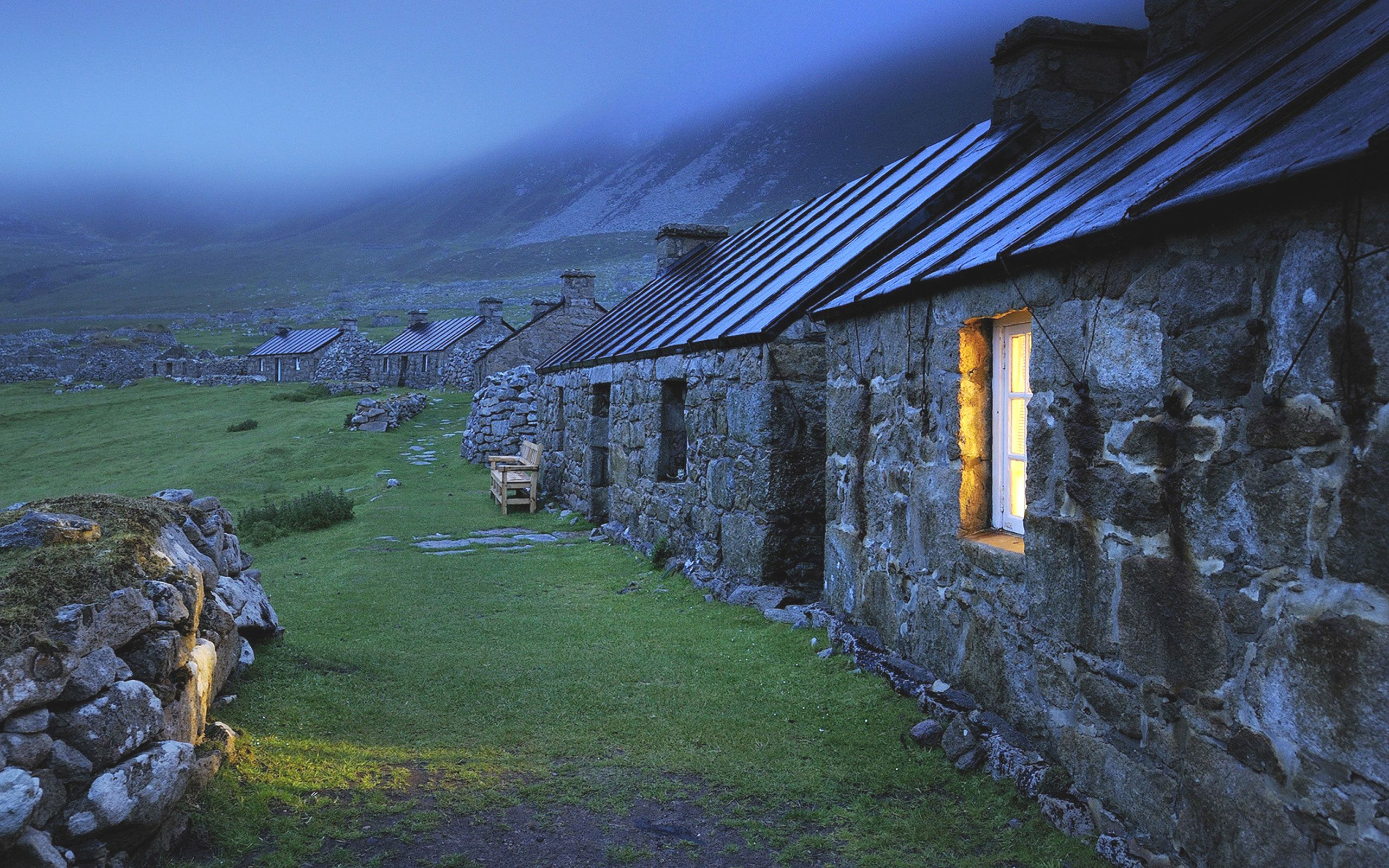 Stone Houses in a Village in the Mountains of Scotland
