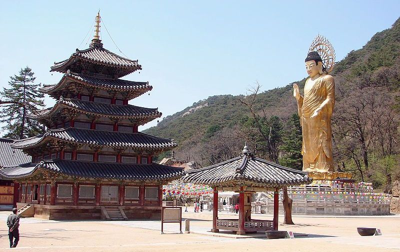 Holy Buddhist Temple and Statue in South Korea