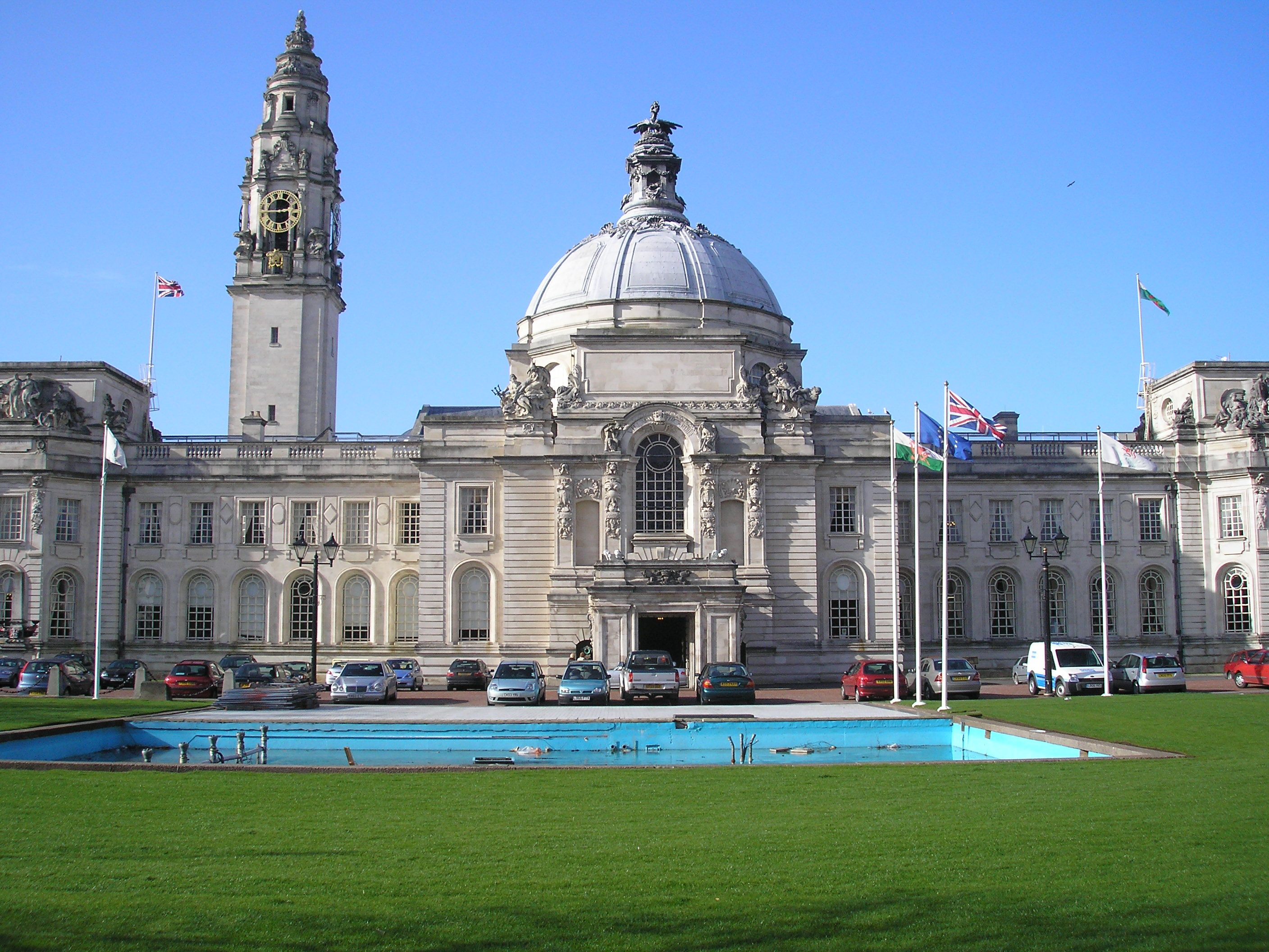 Cathays Park Cardiff City Hall Wales UK